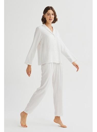 Penti Kadın Kar Beyaz Bridal Blanche Pijama Takım PNUPGYRT20SK Beyaz